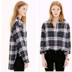 Madewell collarless popover top in wheaton plaid
